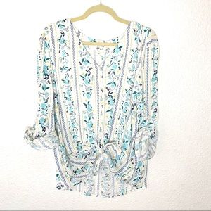 Style & Co Floral Button Up Top Women's Size Large